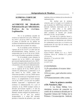 Jurisprudencia de Mendoza 1 SUPREMA CORTE DE JUSTICIA