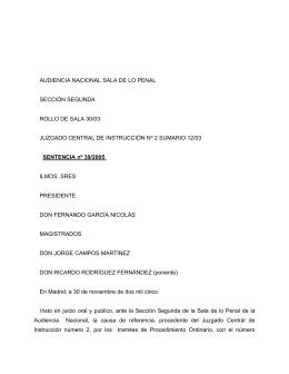 AUDIENCIA NACIONAL SALA DE LO PENAL SECCIÓN SEGUNDA