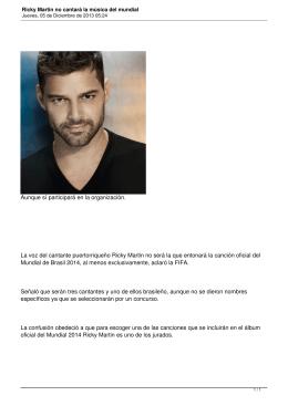 Ricky Martin no cantará la música del mundial