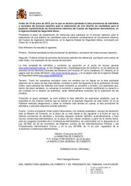Relación provisional de admitidos y excluidos