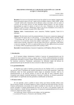 ORACIONES CONCESIVAS Y GRAMATICALIZACIÓN: EL CASO