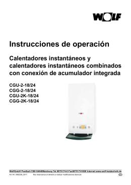Manual de usuario caldera mural bajo NOx CGG-2 (K)