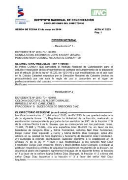 INSTITUTO NACIONAL DE COLONIZACIÓN DIVISIÓN NOTARIAL