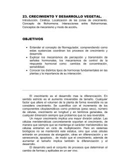 23. CRECIMIENTO Y DESARROLLO VEGETAL. OBJETIVOS