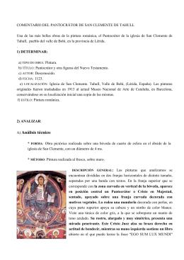 Comentario de las pinturas de San Clemente de Tahull