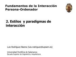 Tema 2. Estilos de interacción, paradigmas y metáforas