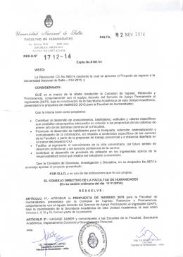 NOV 2014 - Universidad Nacional de Salta