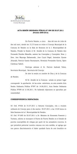 Nº 99 - Ilustre Municipalidad de Puerto Natales