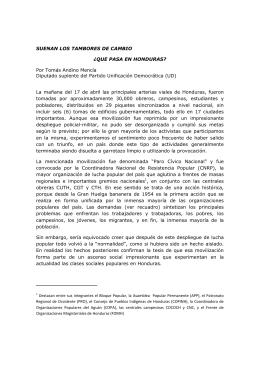 Que pasa en Honduras - El Socialista Centroamericano