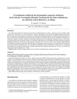 Crecimiento radial de las principales especies arbóreas de la isla