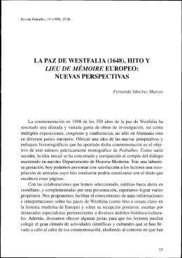 la paz de westfalia (1648), hito y nuevas perspectivas