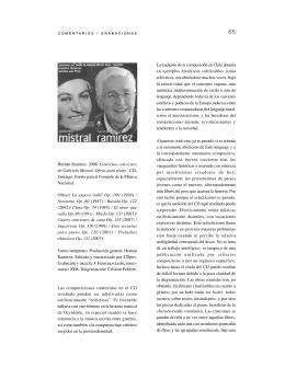 Hernán Ramírez. 2008. Canciones con textos de Gabriela Mistral