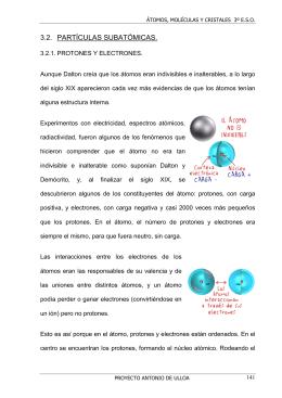 3.2. PARTÍCULAS SUBATÓMICAS.