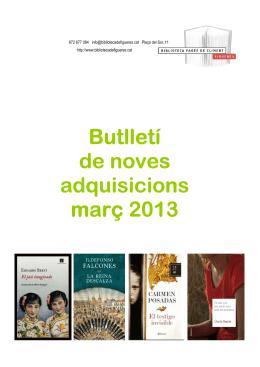 3-Novetats març 2013 - Biblioteca Fages de Climent