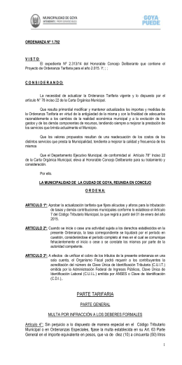 Ordenanza Tarifaria Ord. N°1792
