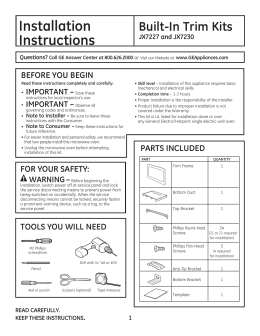 Installation Built-In Trim Kits Instructions JX7227