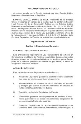 Reglamento de Gas Natural - Comisión Reguladora de Energía