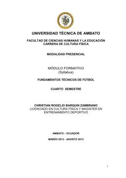 Fundamentos Técnicos de Fútbol - Universidad Técnica de Ambato
