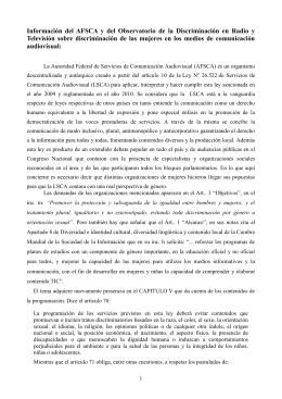Información del AFSCA y del Observatorio de la Discriminación en
