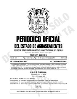 PERIODICO OFICIAL - Gobierno de Aguascalientes