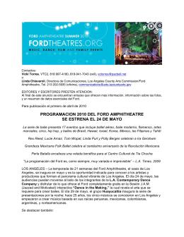 programacion 2010 del ford amphitheatre se estrena el 24 de mayo