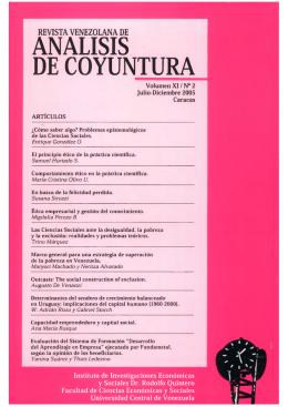 Análisis de Coyuntura. Volumen XI. Nº 2. Julio