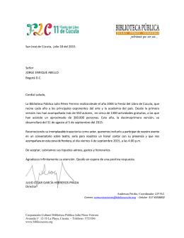 San José de Cúcuta, julio 18 del 2015. Señor JORGE ENRIQUE