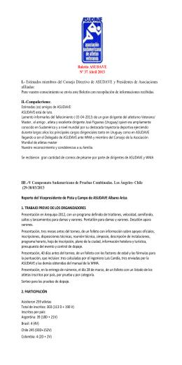 Boletín ASUDAVE Nº 37 Abril 2013 I.- Estimados
