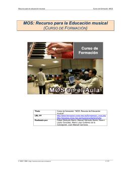 MOS: Recurso para la Educación musical (CURSO DE FORMACIÓN)