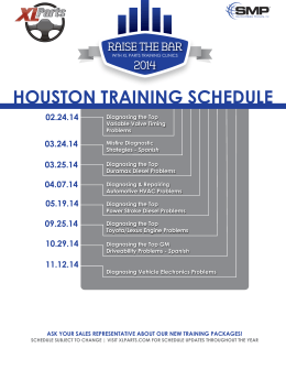 HOUSTON TRAINING SCHEDULE