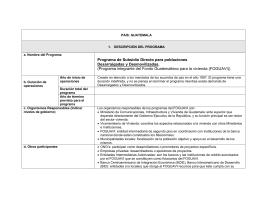 Programa de Subsidio Directo para poblaciones