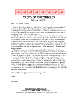 CROCKER CHRONICLES - Crocker Farm Elementary