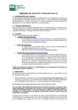 TRIATLÓN UC. Normativa Temporada 2014-15