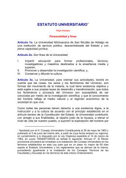 ESTATUTO UNIVERSITARIO - Universidad Michoacana de San