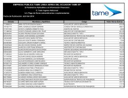 EMPRESA PUBLICA TAME LINEA AEREA DEL ECUADOR TAME EP