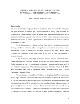 AVIFAUNA ACUATICA DEL EX LAGO DE TEXCOCO: UN