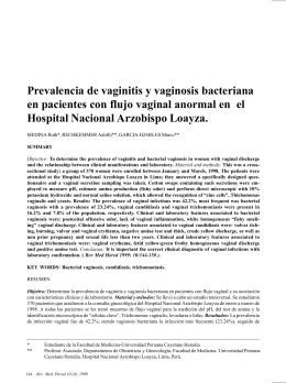 Prevalencia de vaginitis y vaginosis bacteriana en