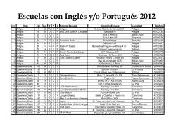 Escuelas con Inglés y/o Portugués 2012