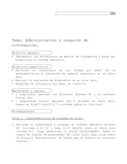 Tema: Administración y respaldo de información. - ASI