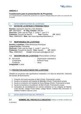 ANEXO 2 Cuestionario para la presentación de Proyectos