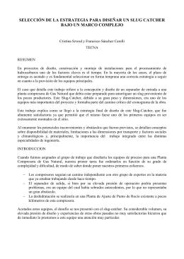 DISEANDO EL SLUG-CATCHER DE ACUERDO