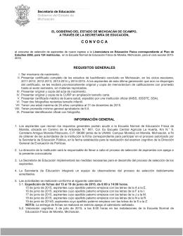C O N V O C A - Gobierno del Estado de Michoacán