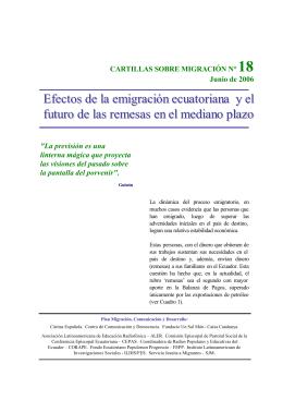 Efectos de la emigración ecuatoriana y e ll futuro de las remesas en