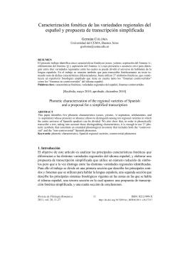Caracterización fonética de las variedades regionales del español y