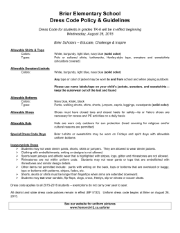 Brier Elementary School Dress Code Policy & Guidelines