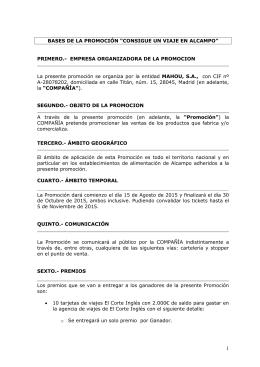 """BASES DE LA PROMOCIÓN """"CONSIGUE UN VIAJE EN ALCAMPO"""