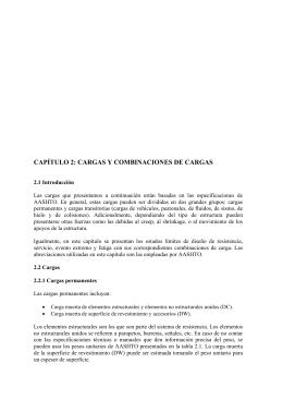 CAPÍTULO 2: CARGAS Y COMBINACIONES DE CARGAS