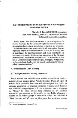 La Teoiogia Mistica de Pseudo Dionisio Areopagita: una nueva
