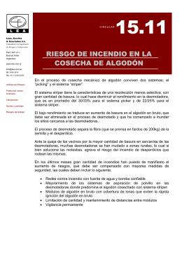 RIESGO DE INCENDIO EN LA COSECHA DE ALGODÓN