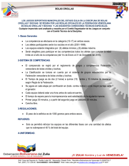 bolas criollas - IRDEZ:::Instituto Regional de Deportes